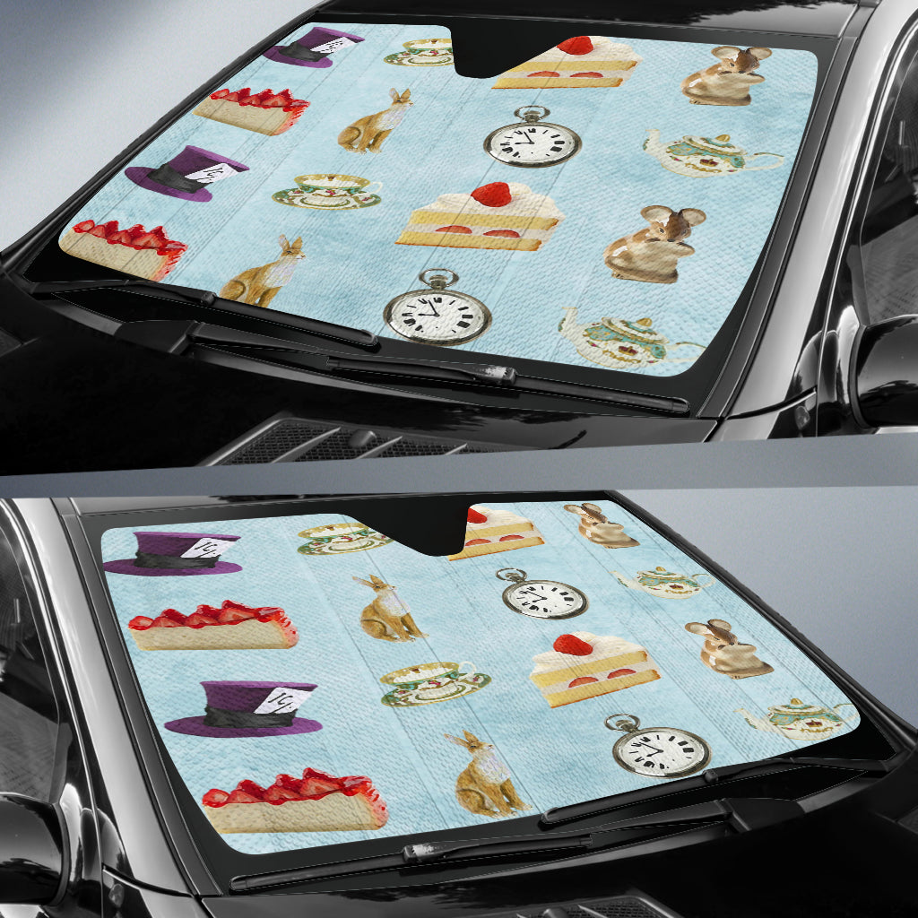 Cake And Watch Alice In Wonderland Auto Sun Shades
