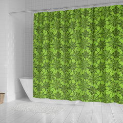 Green Spider Web Halloween Shower Curtain