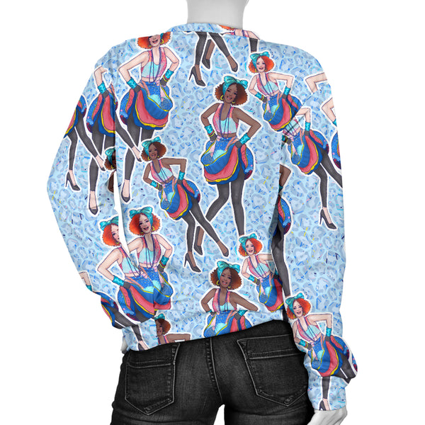 Custom Made Printed Designs Women's Sweater 80's Fashion Girl 09