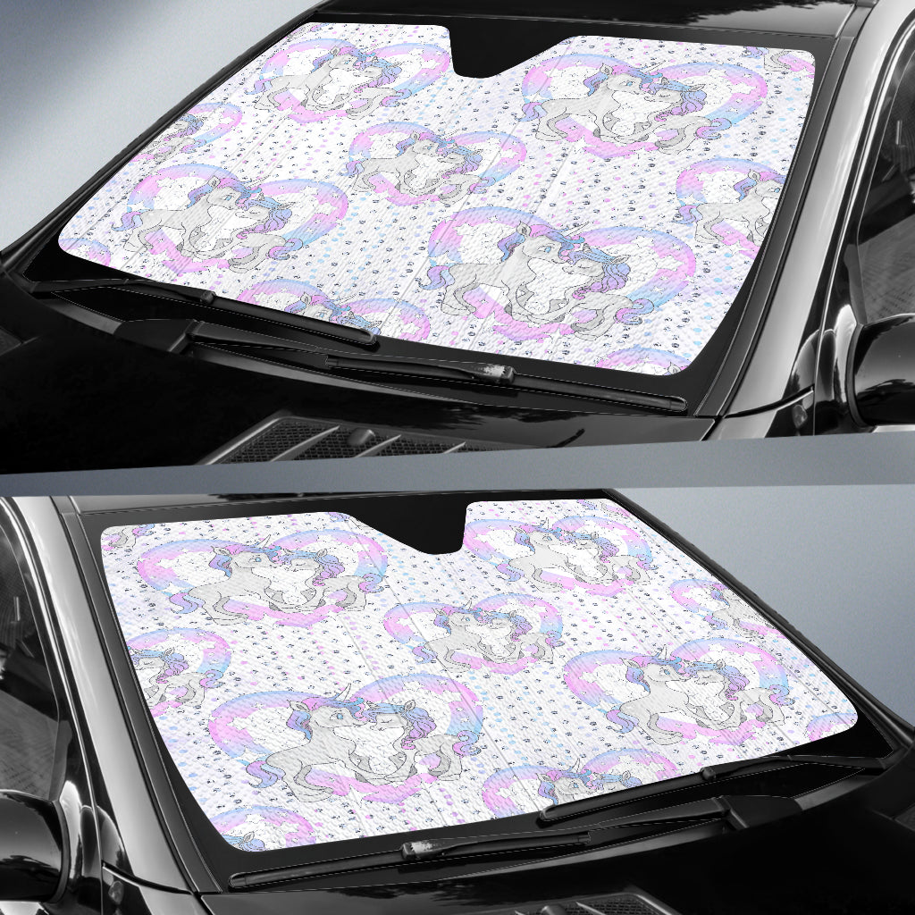 Unicorn In Love Heart Auto Sun Shades