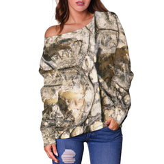 Women Teen Off Shoulder Sweater Animal Skin Texture 1-02