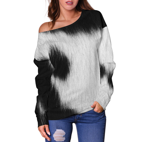 Women Teen Off Shoulder Sweater Animal Skin Texture 1-05