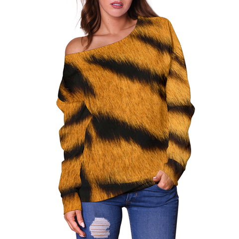 Women Teen Off Shoulder Sweater Animal Skin Texture 1-10