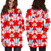 Image of Art Deco Red Floral Women's Hoodie Dress