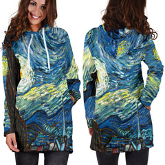 Studio11Couture Women Hoodie Dress Hooded Tunic Vincent Van Gogh Starry Night Athleisure Sweatshirt