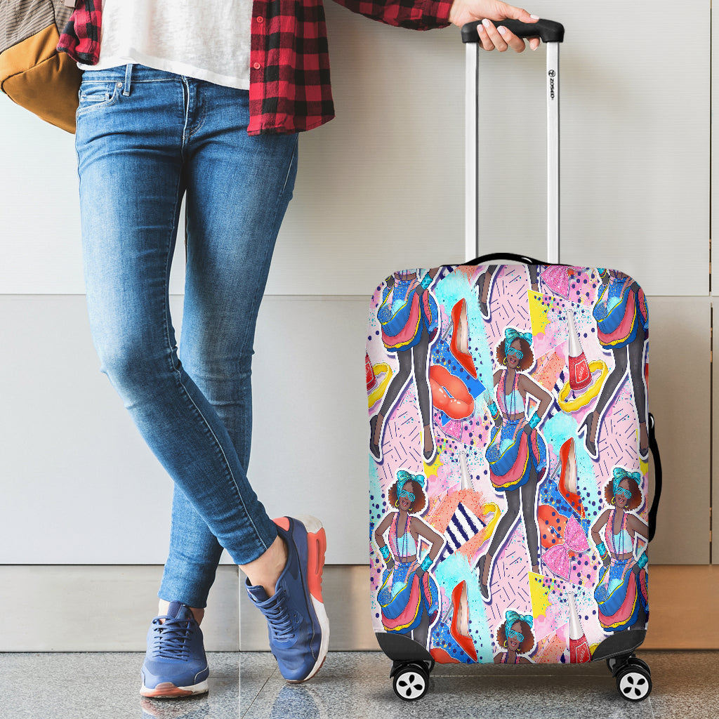 80s Fashion Girl 6 Luggage Cover - STUDIO 11 COUTURE