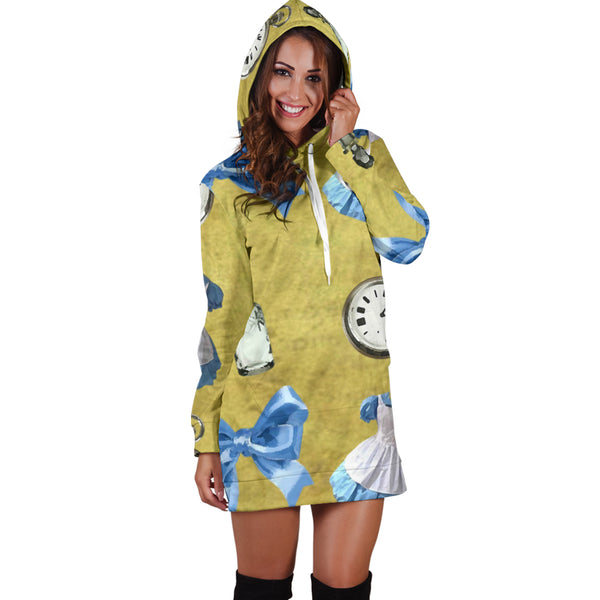 Studio11Couture Women Hoodie Dress Hooded Tunic Drink Me Alice In Wonderland Athleisure Sweatshirt