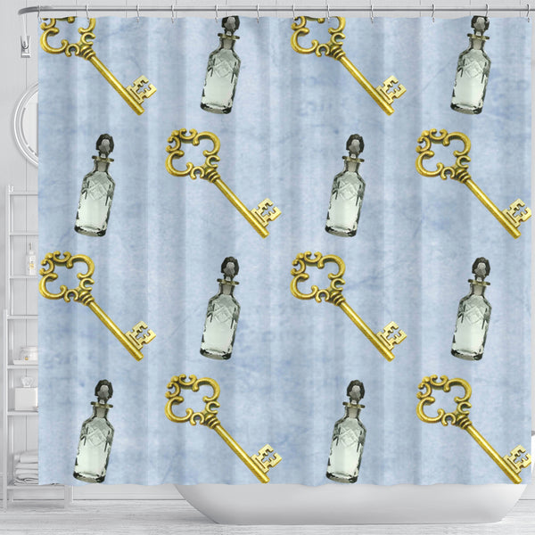 Keys and Drinks Alice In Wonderland Shower Curtain