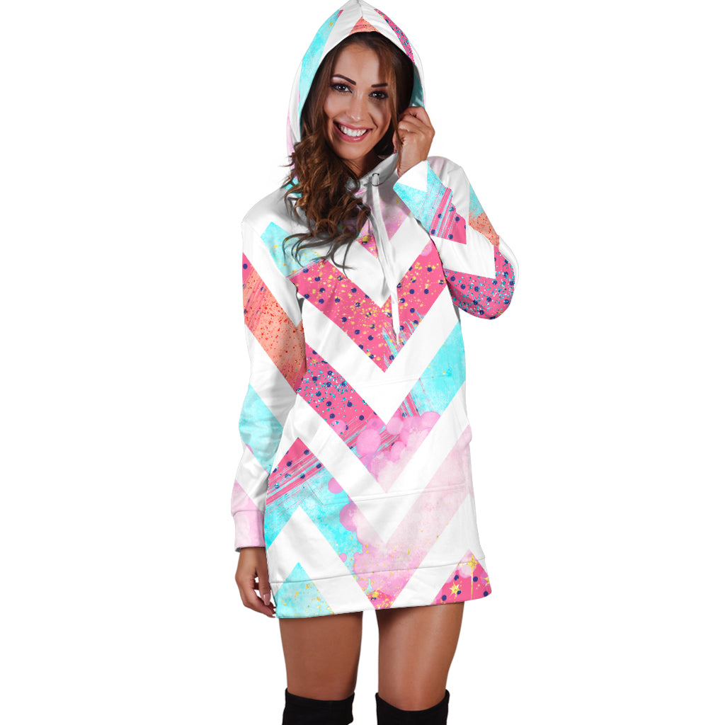 Studio11Couture Women Hoodie Dress Hooded Tunic 80s Chevron Fashion Girl Athleisure Sweatshirt