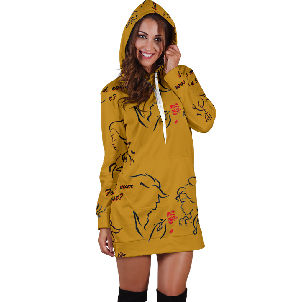 Beauty And The Beast Love Women's Hoodie Dress - STUDIO 11 COUTURE