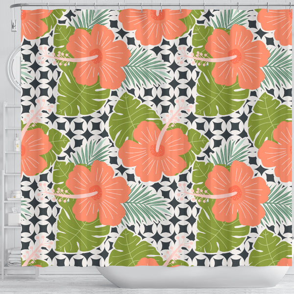 Tropical Hibiscus Shower Curtain - STUDIO 11 COUTURE