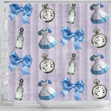 Cute Ribbon And Watch Alice In Wonderland Shower Curtain
