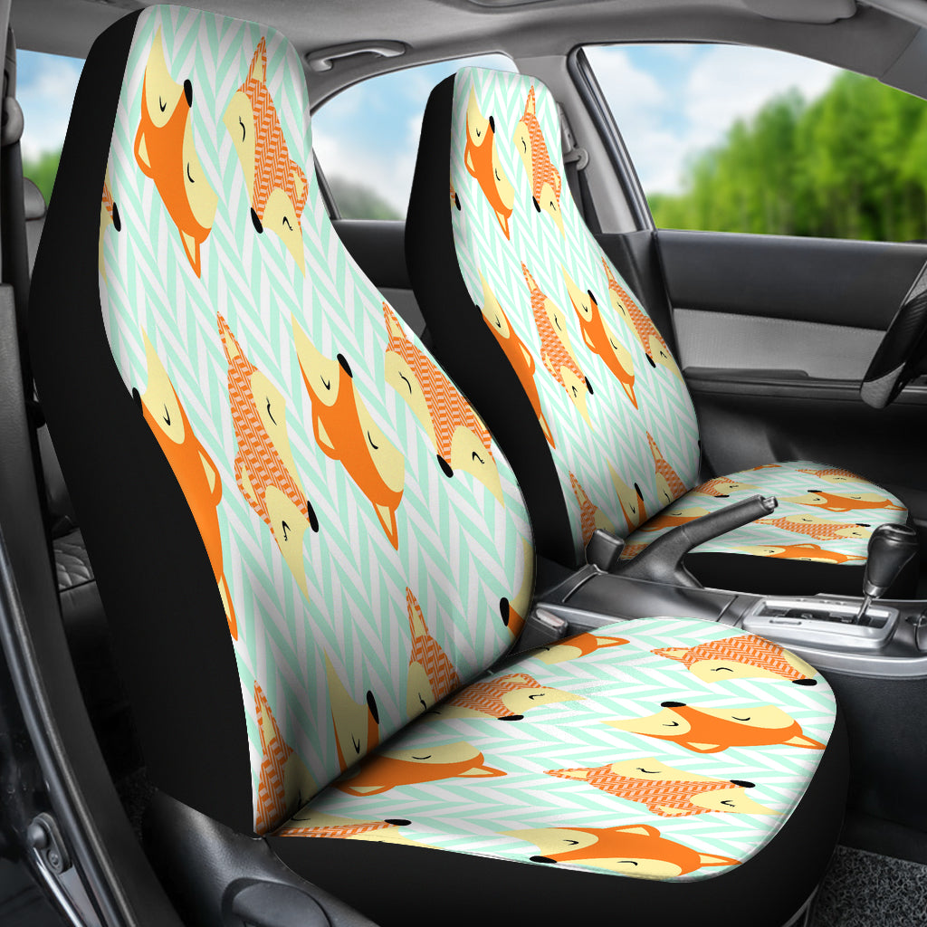 Cute Green Zigzag Large Fox Car Seat Covers