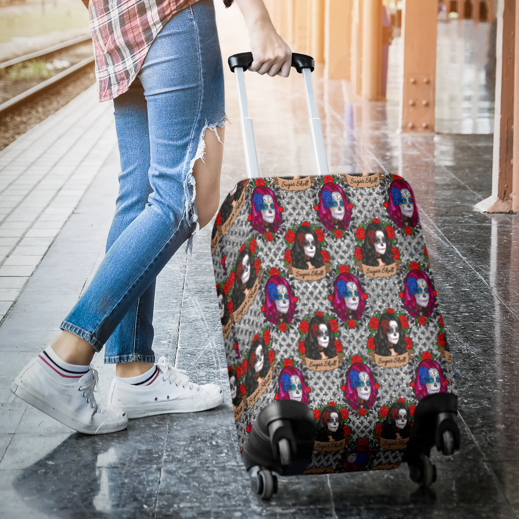 Sugar Skull Gothic Halloween Luggage Cover