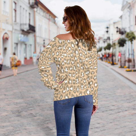 Women Teen Off Shoulder Sweater Leopard Print Digital Paper 04
