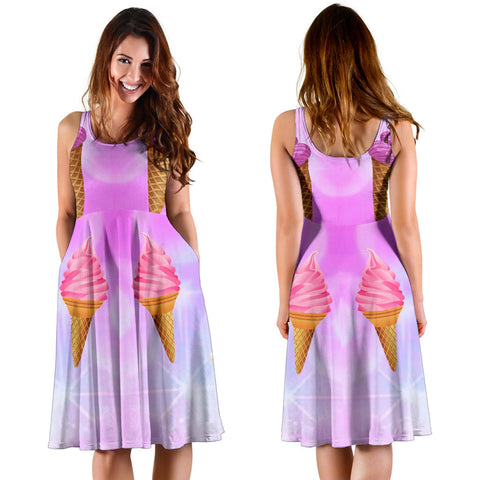 Women's Dress, No Sleeves, Custom Dress, Midi Dress, Ice Cream 1-01
