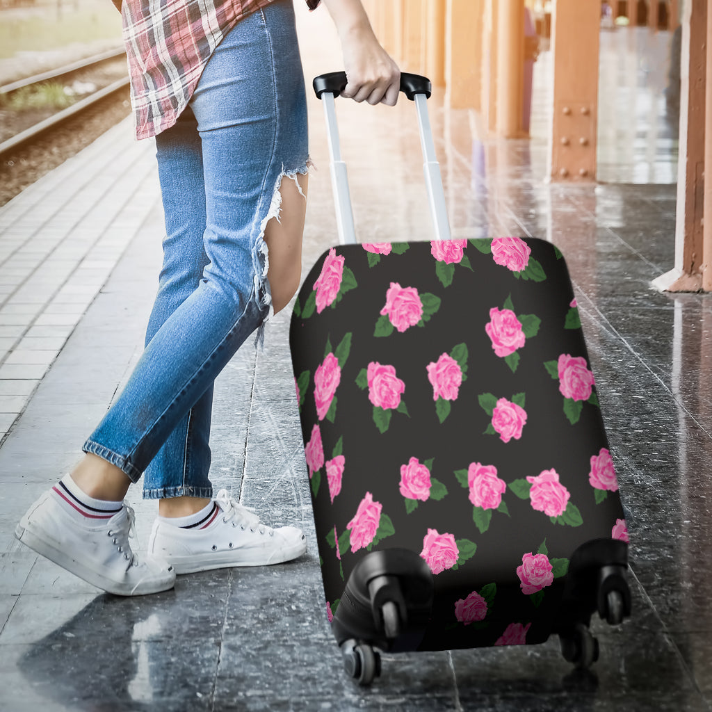 Black Rose Luggage Cover