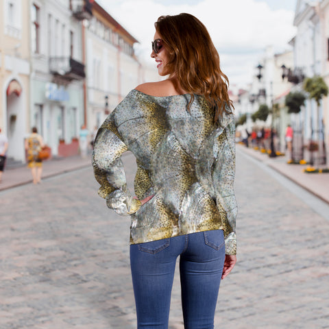 Women Teen Off Shoulder Sweater Animal Skin Texture 1-03