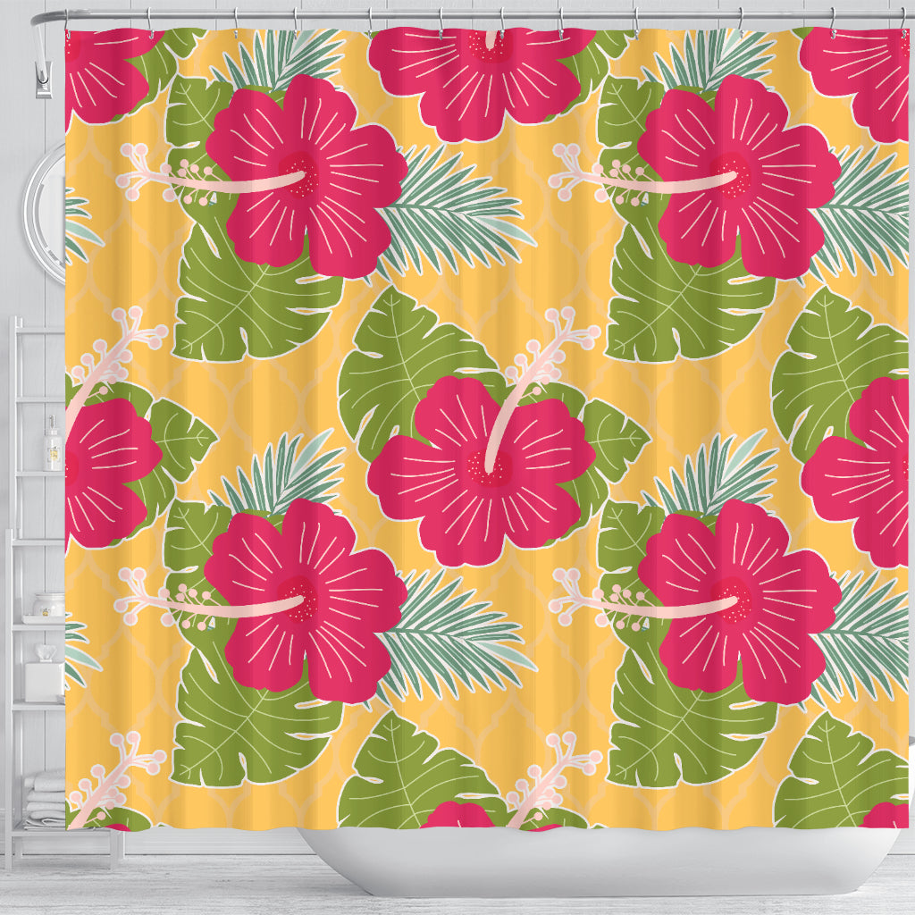 Tropical Red Flower Shower Curtain - STUDIO 11 COUTURE
