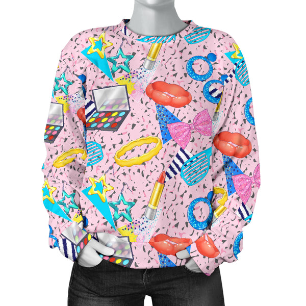 Custom Made Printed Designs Women's Sweater 80's Fashion Girl 11