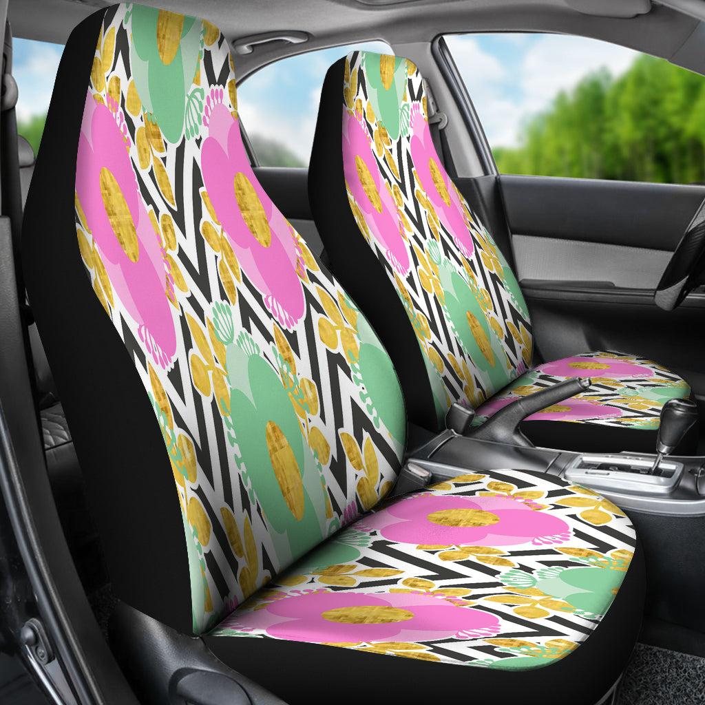 Black and White Zigzag Floral Spring Car Seat Covers