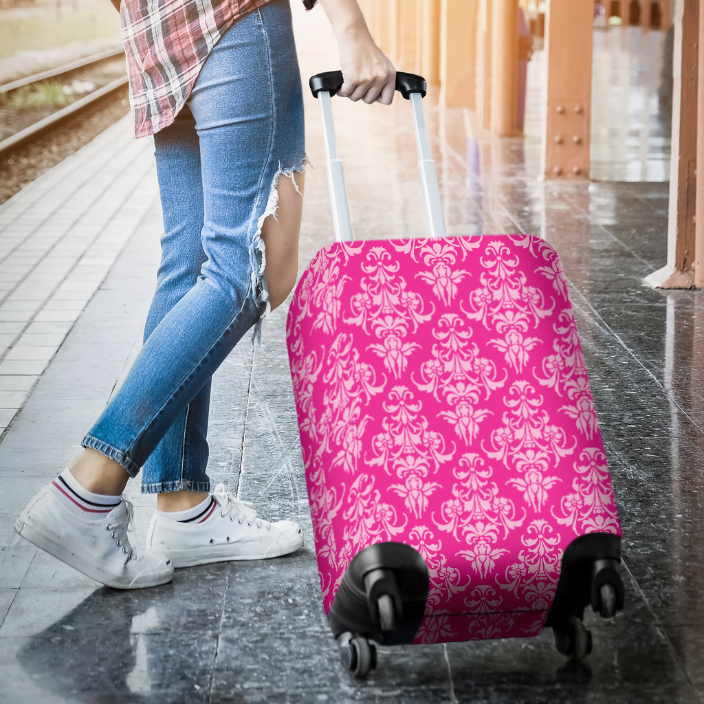 Magenta Damask Luggage Cover