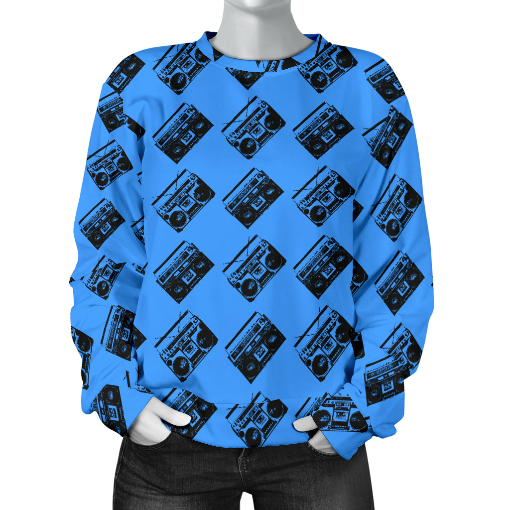 Custom Made Printed Designs Women's Sweater 80's Boombox 01