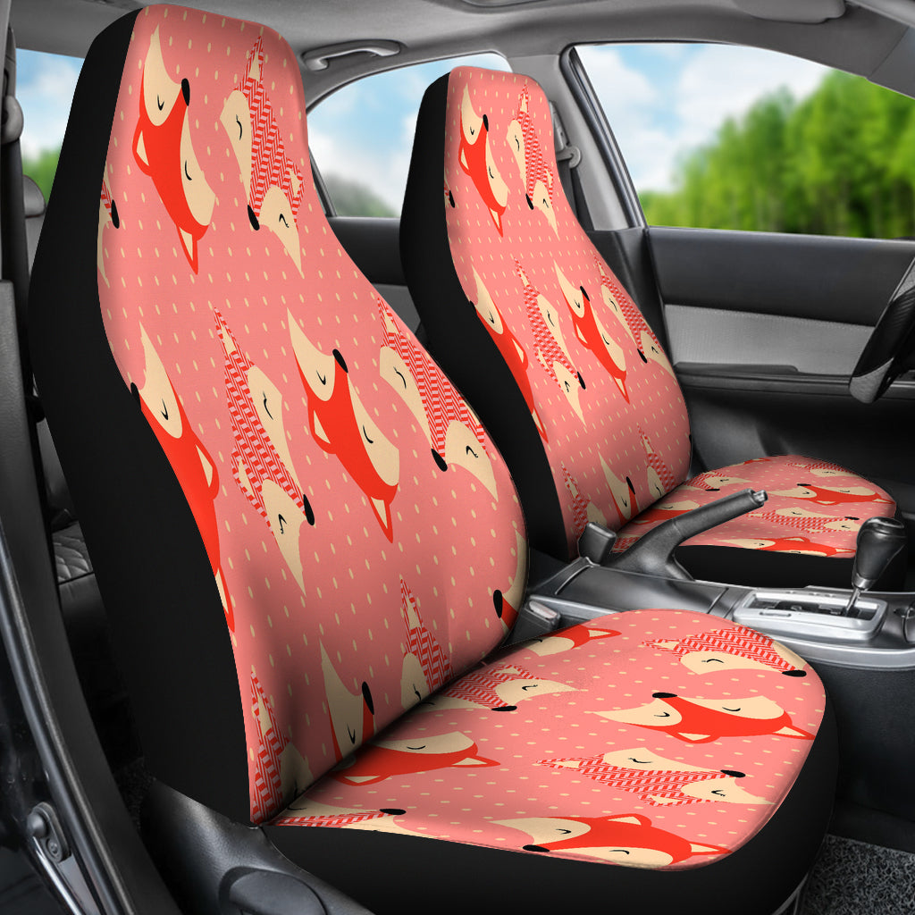 Cute Red Dot Large Fox Car Seat Covers