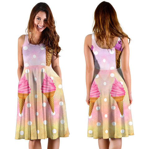 Women's Dress, No Sleeves, Custom Dress, Midi Dress, Ice Cream 1-05