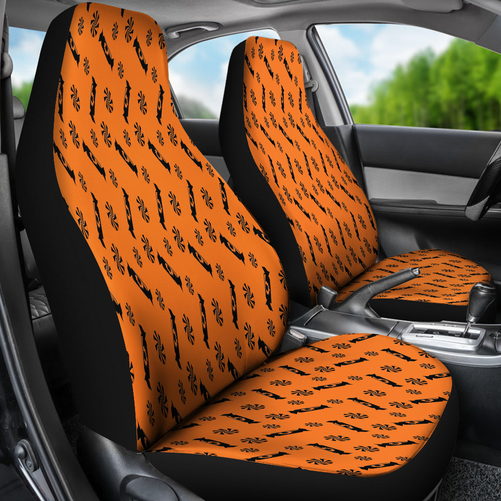 Trick or Treat Orange Black Candy Spooky Car Seat Covers