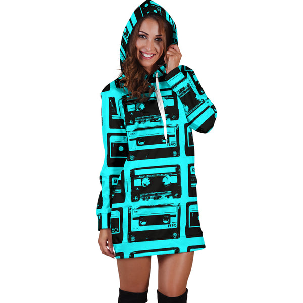 Studio11Couture Women Hoodie Dress Hooded Tunic 80s Teal Boombox Athleisure Sweatshirt