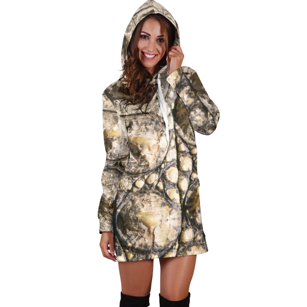 Alligator Skin Sexy Trendy Women Teen Long Sleeves Hoodie Dress Hooded Tunic