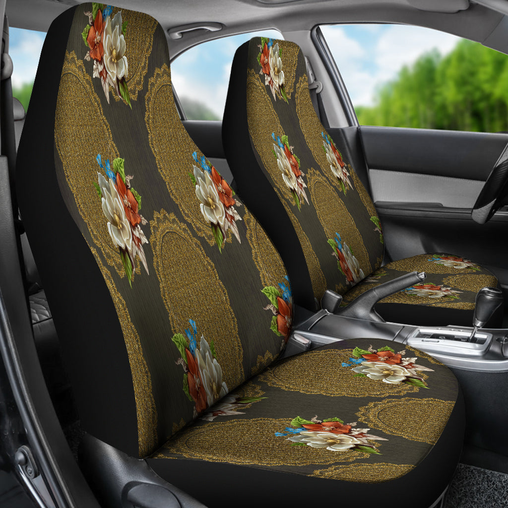 Gold Floral Car Seat Covers