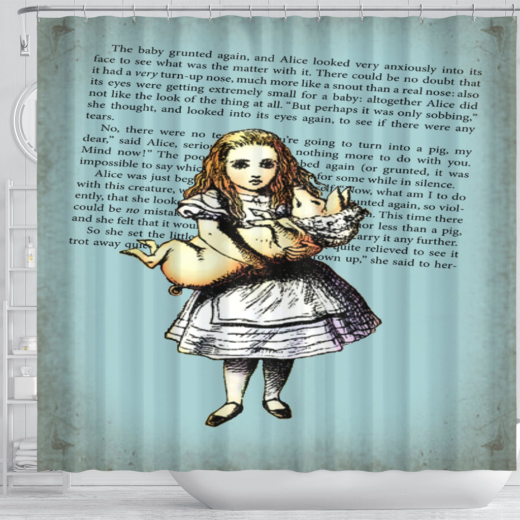 Alice And The Pig Shower Curtain - STUDIO 11 COUTURE