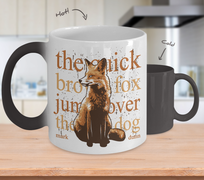 Color Changing Mug Animals The Quick Brown Fox Jump Over A Dog