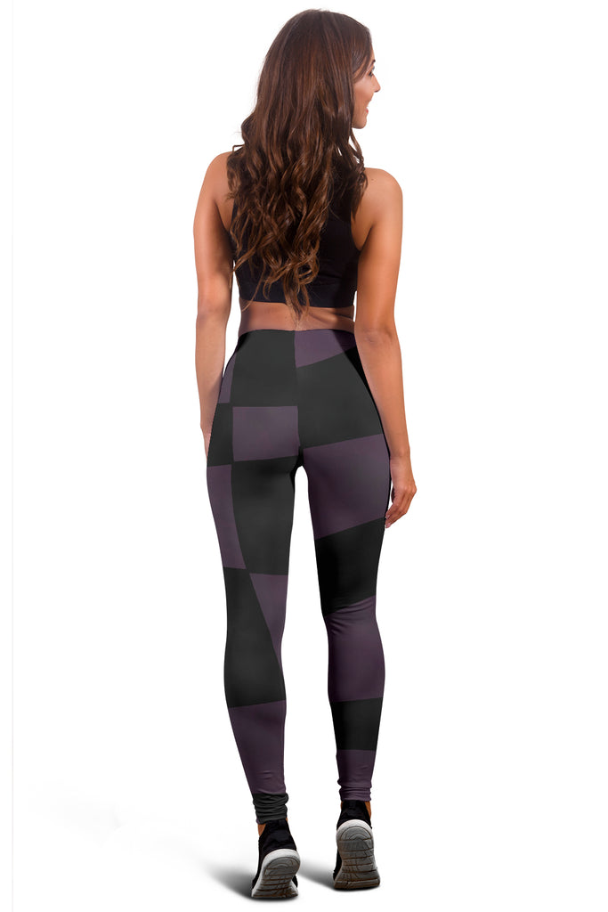Fashion & Fitness Leggings Alice In Wonderland 1 Purple Black Checkerboard