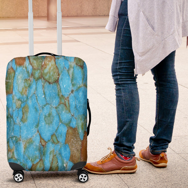 Dirty Blue Marble Tile Luggage Cover