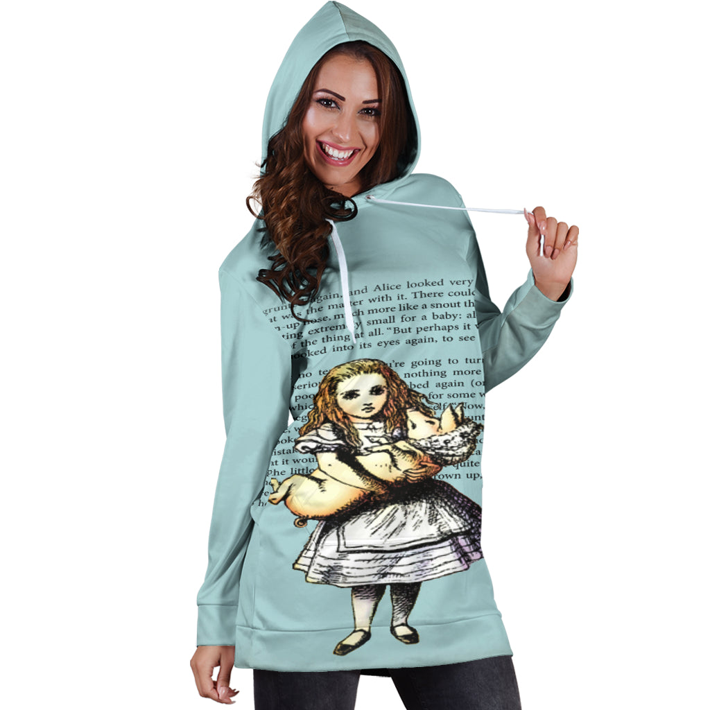Studio11Couture Women Hoodie Dress Hooded Tunic Alice And The Pig Athleisure Sweatshirt