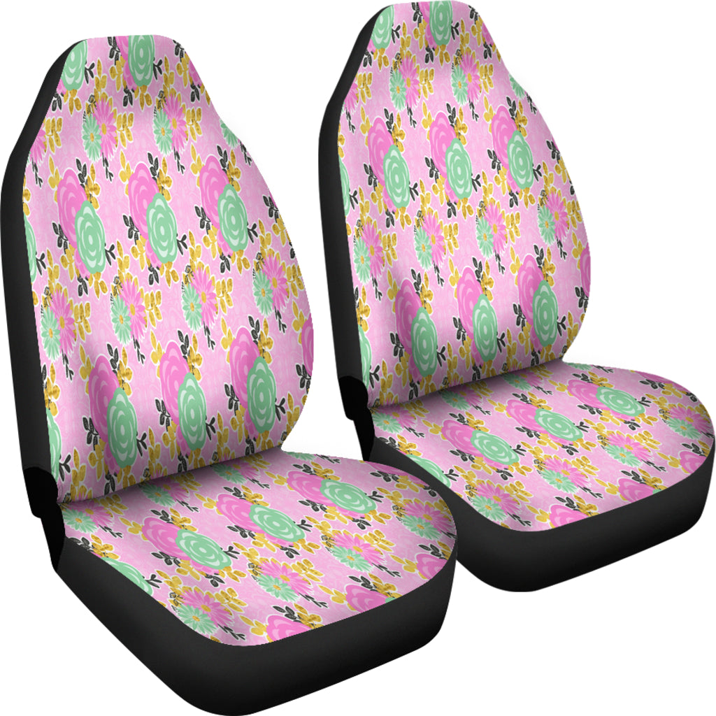 Pretty Pink Floral Spring Car Seat Covers