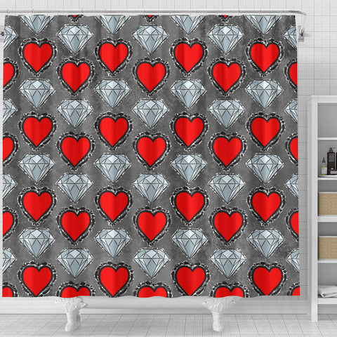 Hearts and Diamonds Shower Curtain - STUDIO 11 COUTURE