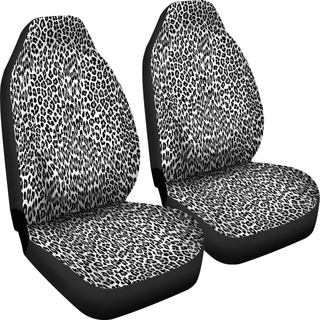 Black and White Animal Leopard Print Car Seat Covers
