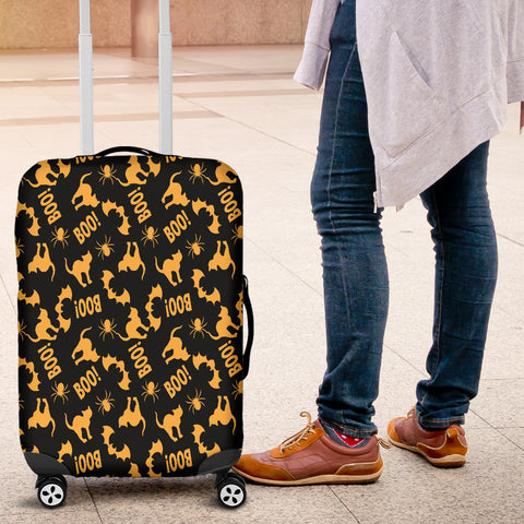 Orange Cat Halloween Luggage Cover