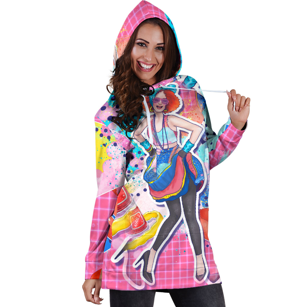 Studio11Couture Women Hoodie Dress Hooded Tunic 80s Fashion Girl Athleisure Sweatshirt