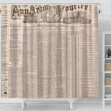 Old Newspaper Ann Arbor Shower Curtain - STUDIO 11 COUTURE