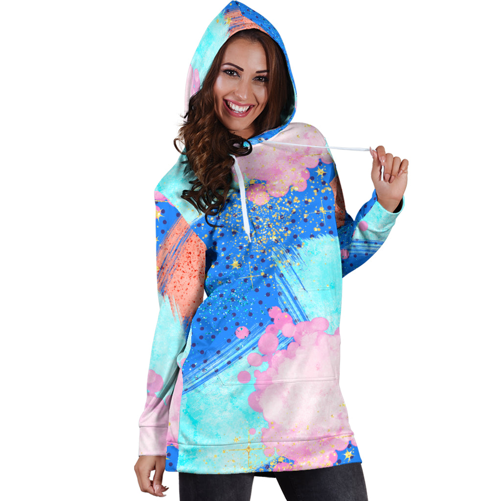 80s Shades Fashion Girl Sexy Trendy Women Teen Long Sleeves Hoodie Dress Hooded Tunic