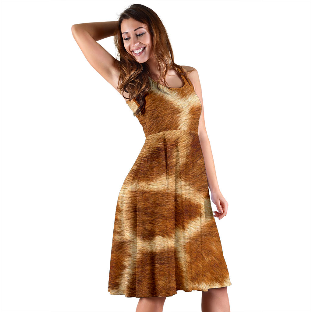 Women's Dress, No Sleeves, Custom Dress, Midi Dress, Animal Skin Texture 1-11