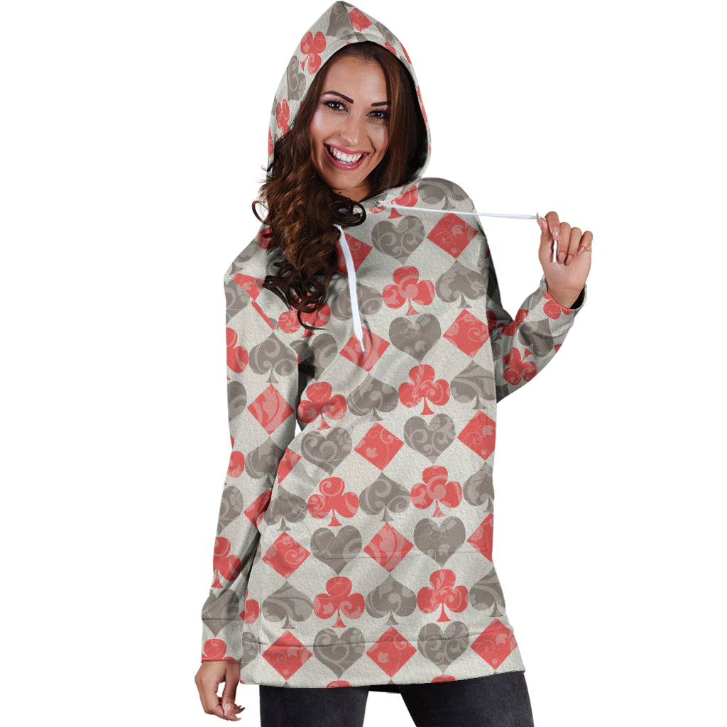 Studio11Couture Women Hoodie Dress Hooded Tunic Red Card Decks Alice In Wonderland Athleisure Sweatshirt