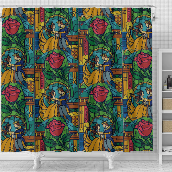 Beauty And The Beast Stained Glass Shower Curtain
