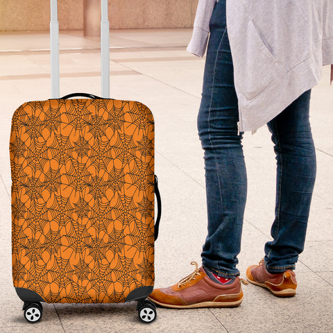 Orange Spider Web Halloween Luggage Cover