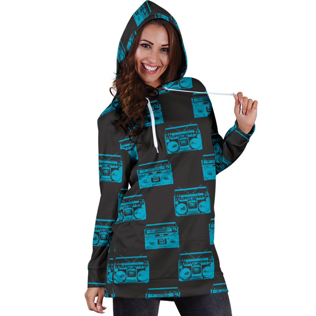 80s Turquoise Boombox Sexy Trendy Women Teen Long Sleeves Hoodie Dress Hooded Tunic